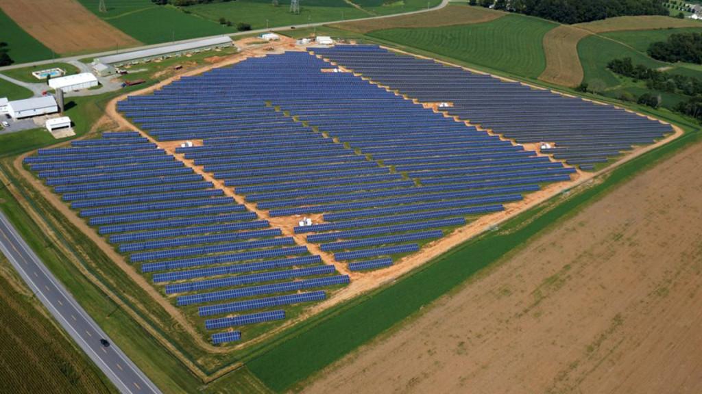 aerial photo of a solar farm