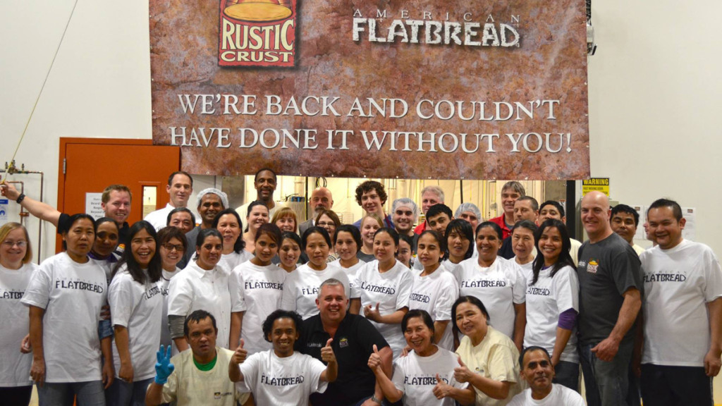 all of the rustic crust staff posing for a group photo to say thanks, we couldn't have done it without you