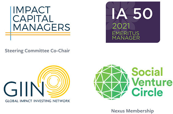 multiple logos, impact capital managers, IA 50 Manager, GIIN, and Social Venture Circle
